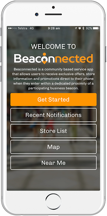 beaconnected app running on an iphone